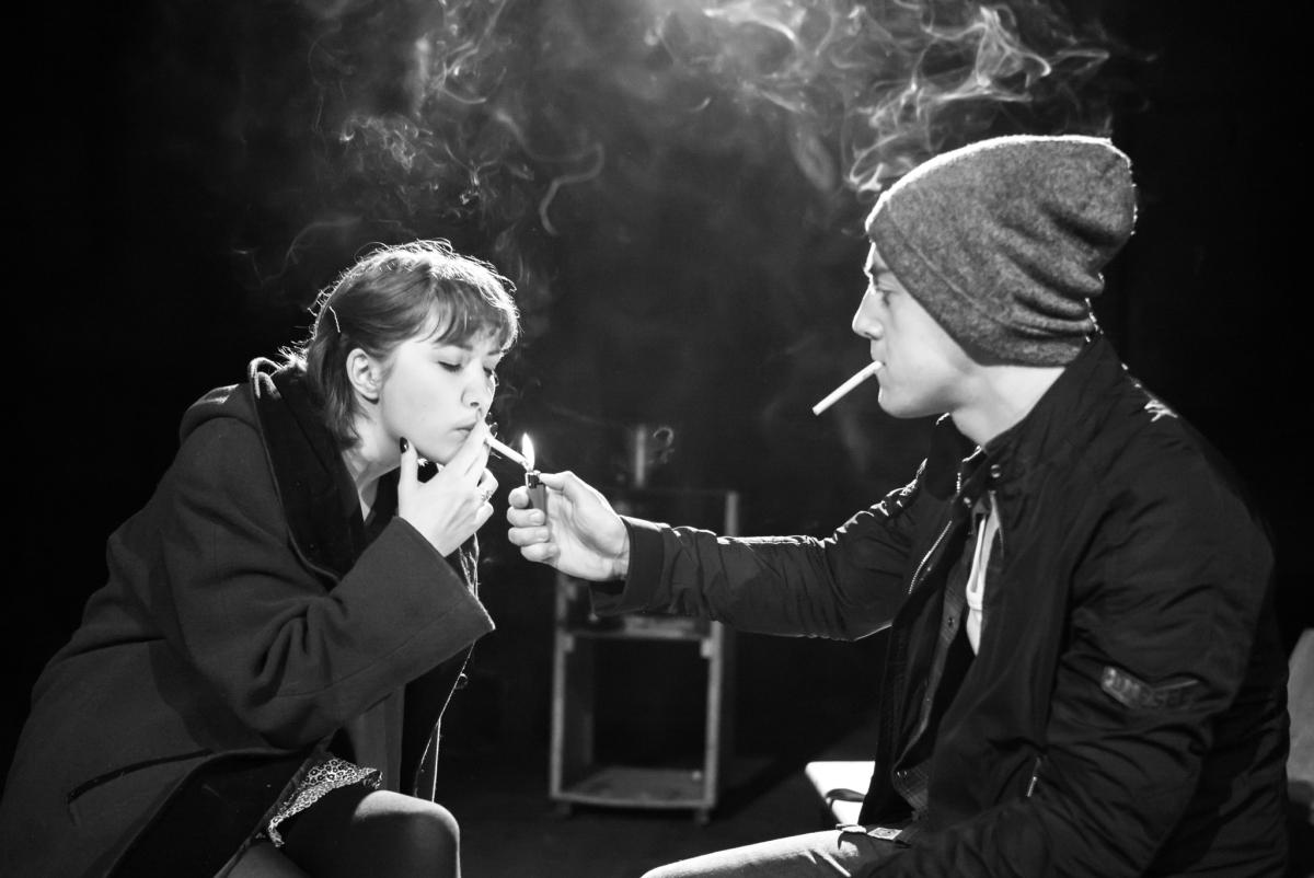 Bebe Sanders & Michael Jinks in Underground, Off Broadway, composer and sound designer: Jude Obermüller (Photo by Carol Rosegg)