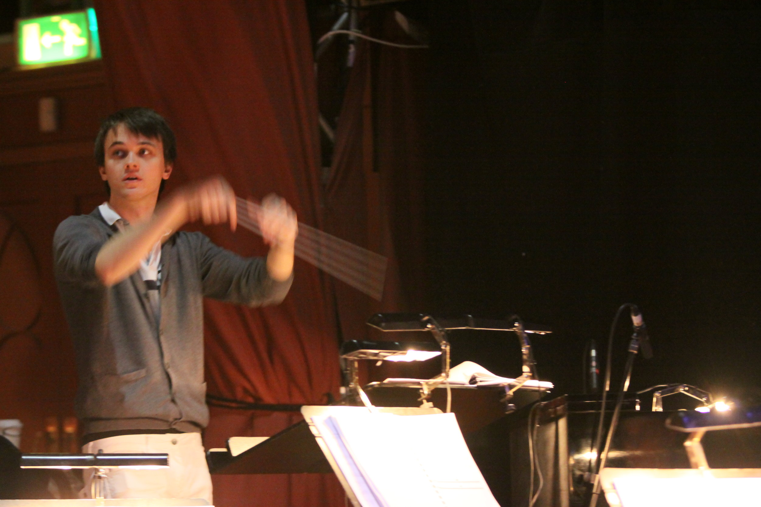 Jude conducting Forbidden Fruit, Brighton Festival, Brighton Dome, composed by Jude Obermüller (photo by Sarah Sutherland-Rowe)