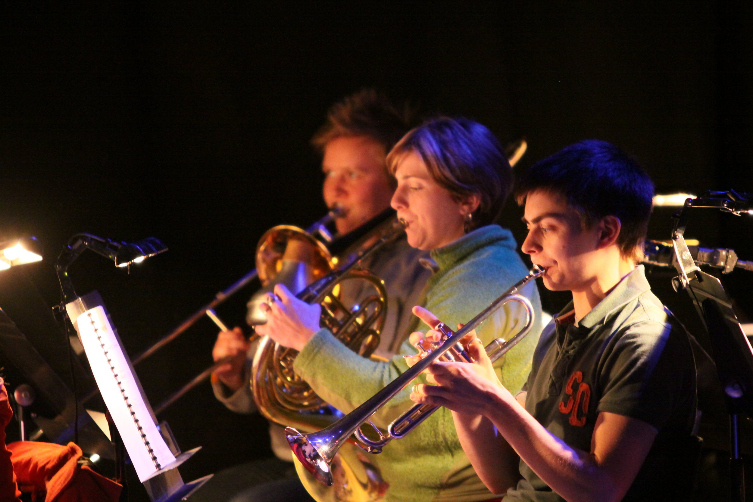 Ellen Campbell, Ellie Verkerk & Tom Griffiths in The Forbidden Fruit orchestra, Brighton Festival, Brighton Dome, composed by Jude Obermüller (photo by Sarah Sutherland-Rowe)