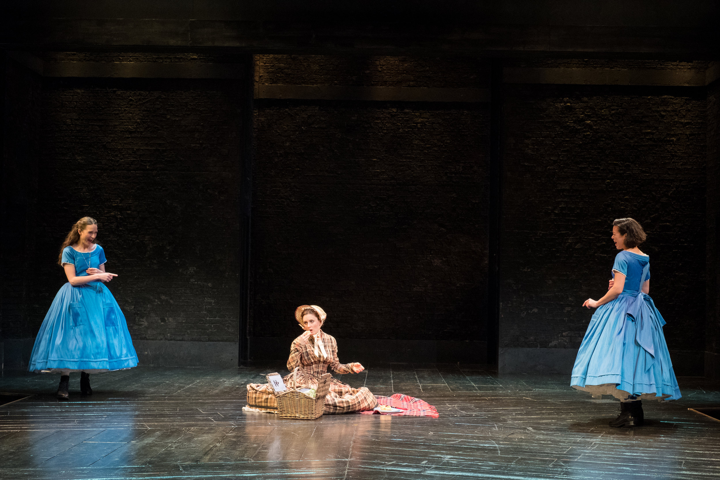 Anna Leong Brophy, Rebecca Birch & Barbara Hockaday in Alice in Wonderland, Storyhouse, composed by Jude Obermüller (photo by Mark McNulty)