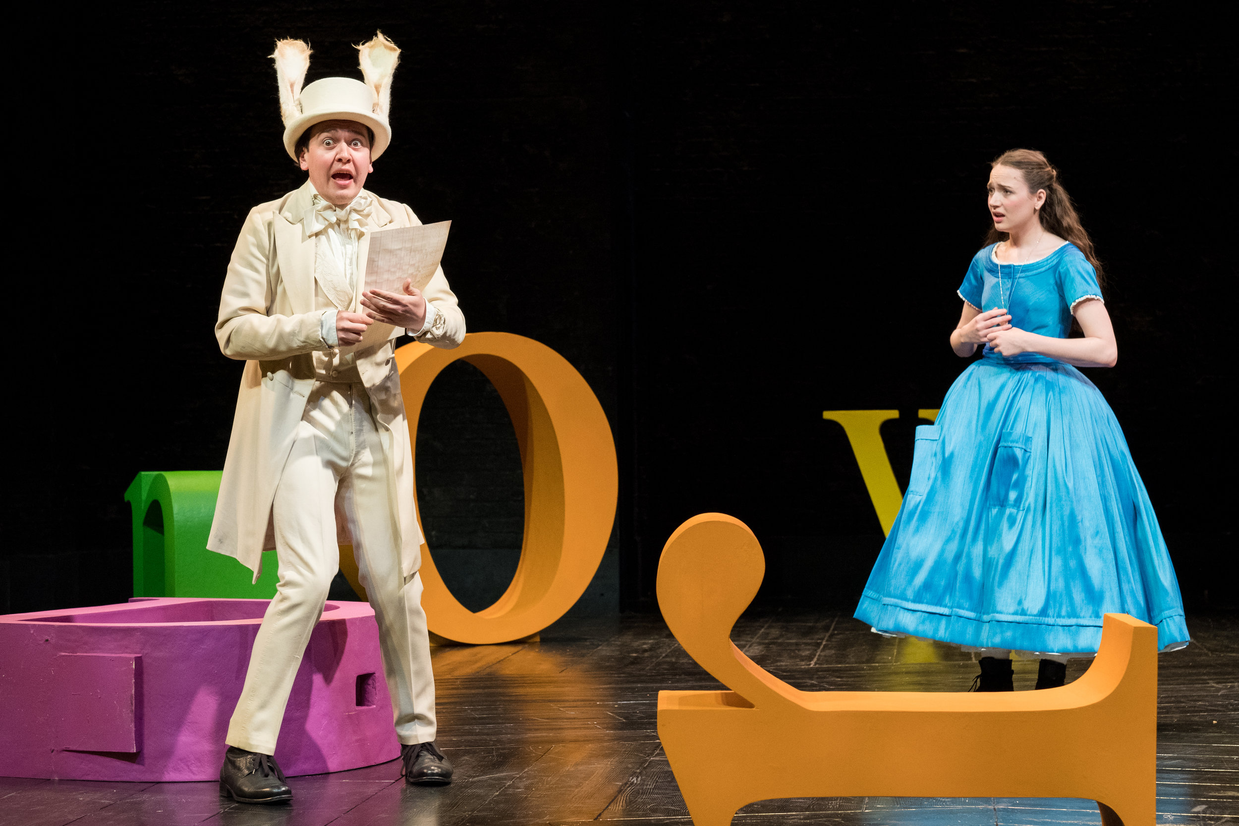 Tom Connor & Rebecca Birch in Alice in Wonderland, Storyhouse, composed by Jude Obermüller (photo by Mark Carline)