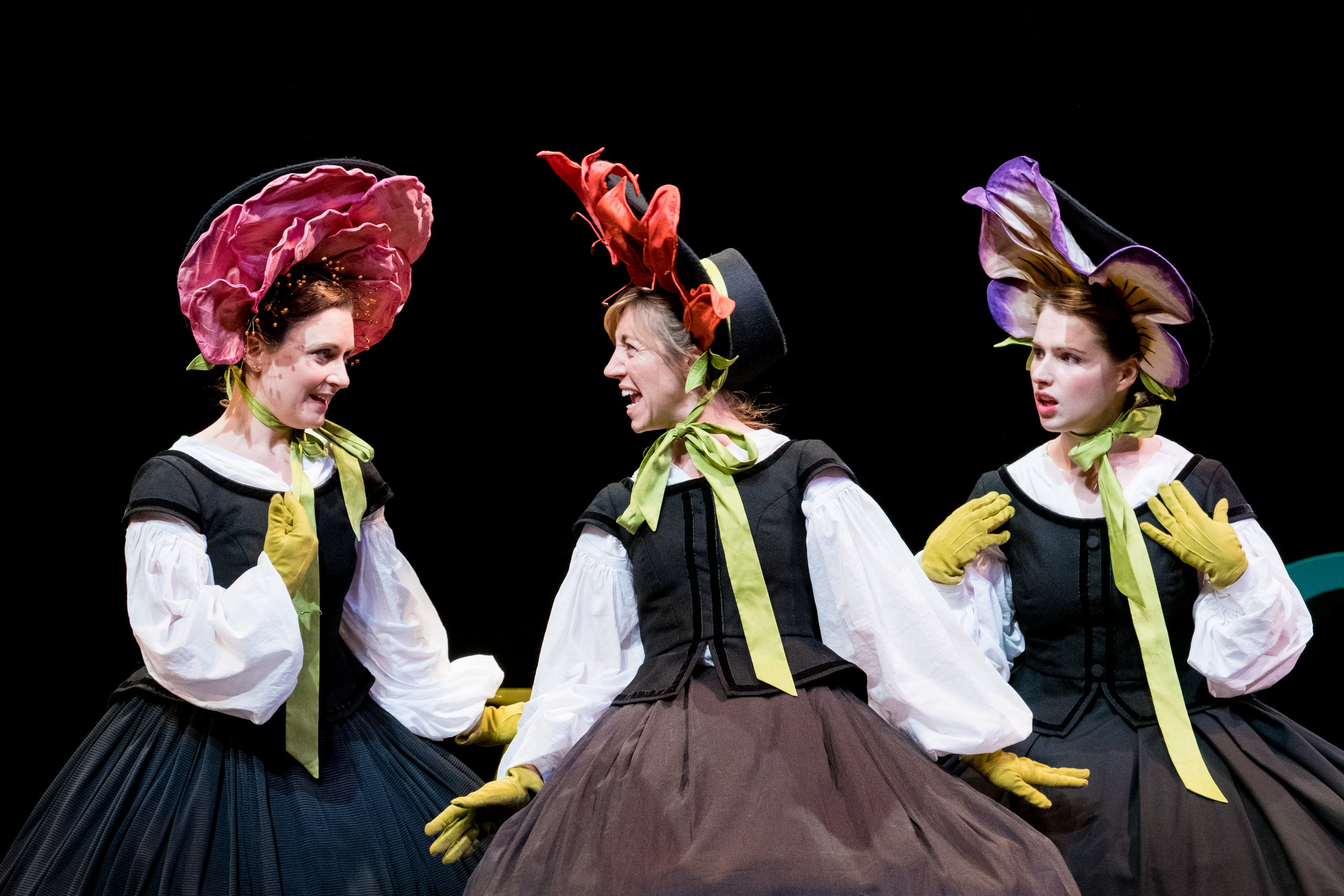 Barbara Hockaday, Nancy Sullivan & Charlotte Miranda Smith in Alice in Wonderland, Storyhouse, composed by Jude Obermüller (photo by Mark McNulty)