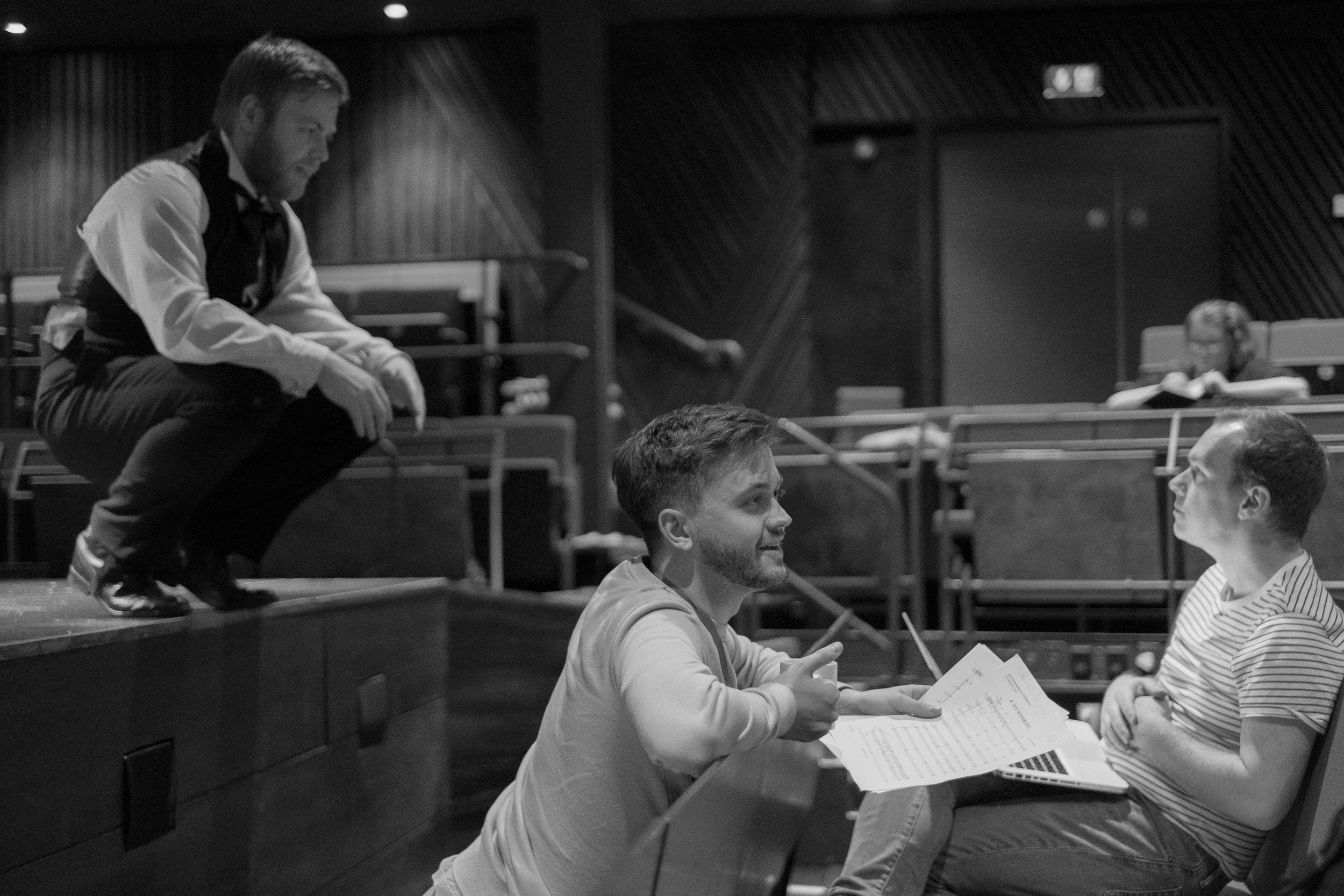discussing musical changes for Alice, Storyhouse 2017 (photo Mark McNulty)