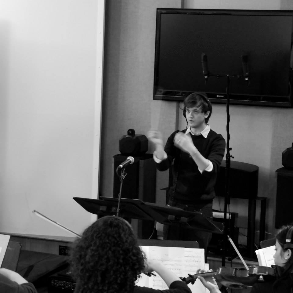 conducting the RCM Screen Orchestra,BSS Studios, London (photo Elliot Corner)