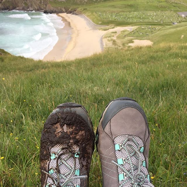 Breaking in my new hiking shoes one at a time. #isleoflewis #hiking #scotland