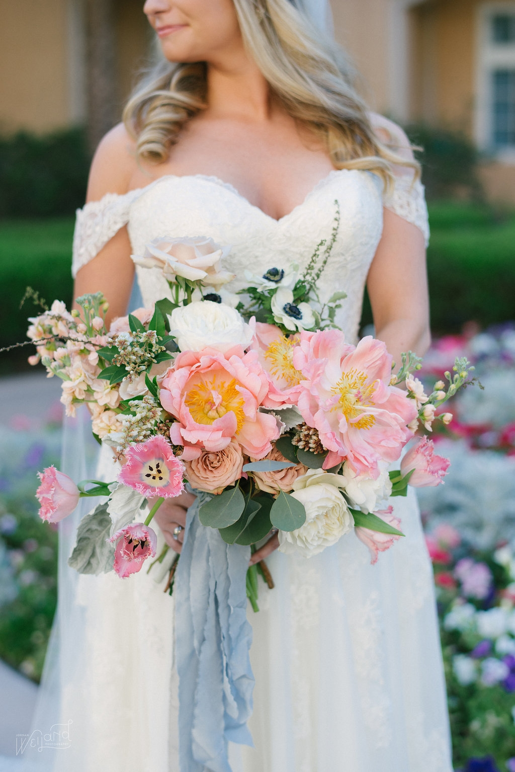 Peony Bridal Bouquet with French Ribbon || Lisa Stoner Events || Velvet & Twine || Jordan Weiland Photography