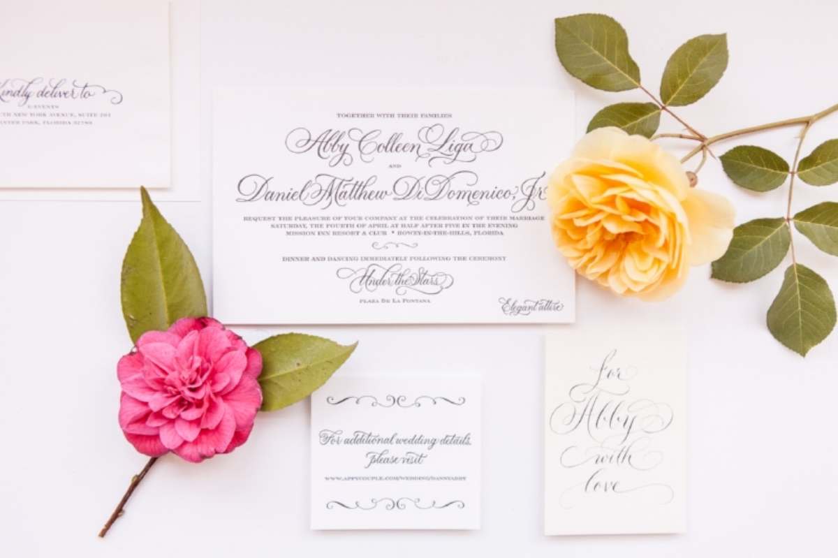 Calligraphed Wedding Invitation || Lisa Stoner Events || Sarah Hanna Calligraphy || Silvana DiFranco Photography