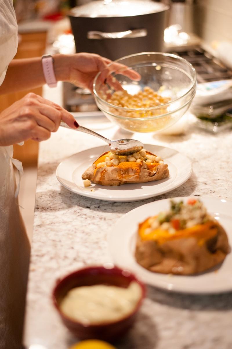 Vegan Mediterranean Stuffed Sweet Potatoes   Lisa Stoner Events