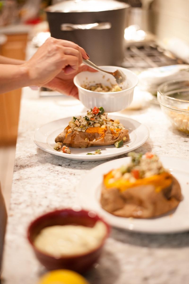 Lisa's Kitchen   Mediterranean Stuffed Sweet Potatoes