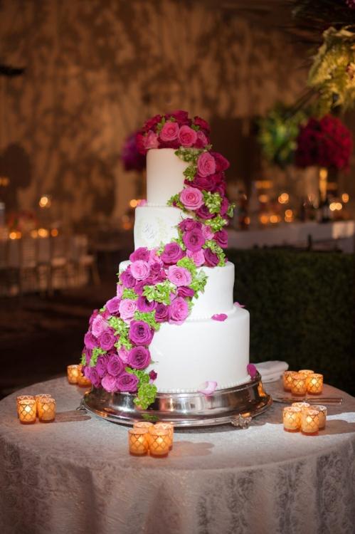 Lisa Stoner Events - Orlando Luxury Weddings - Four Seasons Orlando -  Wedding Cake- Garden Wedding - modern wedding- wedding cake with cascade of flowers.jpg