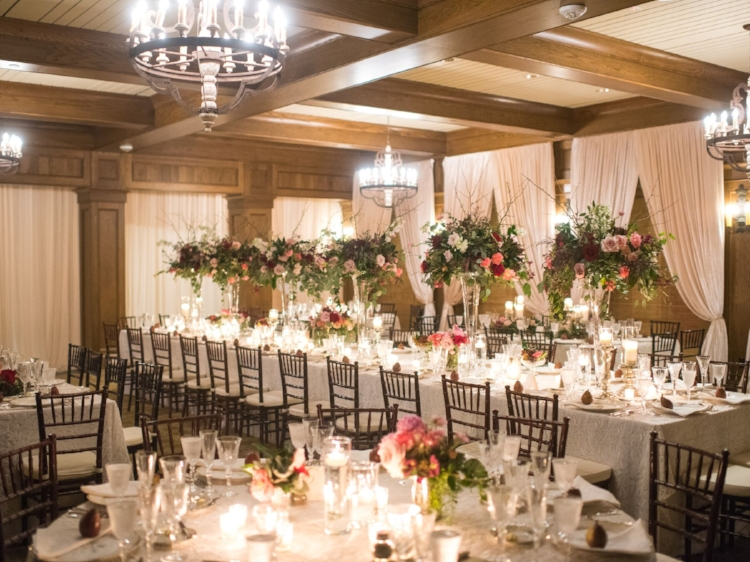 Lisa Stoner Events - Luxury Central Florida Weddings - Orlando Weddings - Classic Southern Wedding - Winter Park -Interlachen Country Club - wedding reception - long tables - tall centerpieces - lace linen - draping - uplighting.jpg