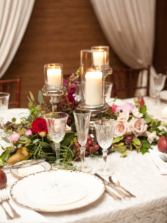 Lisa Stoner Events - Luxury Central Florida Weddings - Orlando Weddings - Classic Southern Wedding - Winter Park -Interlachen Country Club - silver candlestick - centerpieces with flowers and fruit - pink centerpieces - peonies.jpg