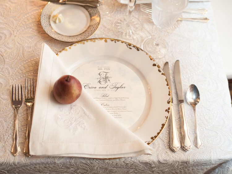 Lisa Stoner Events - Luxury Central Florida Weddings - Orlando Weddings - Classic Southern Wedding - Winter Park -Interlachen Country Club - round menu cards - custom embroidered napkins - wedding monogram.jpg