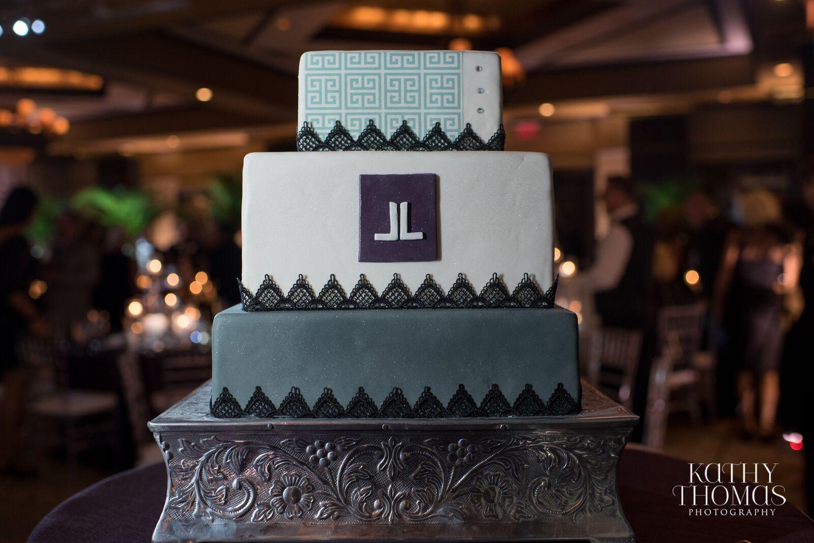 Lisa Stoner Events - Luxury Weddings - Orlando Weddings - Grand Bohemian Hotel - black tie wedding - same sex wedding - Marriage Equality  - Wedding Planner - plum and grey wedding - grey modern wedding cake.jpg