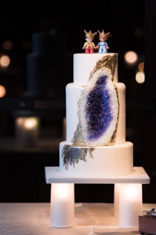 lisa stoner events- four seasons orlnado - geode wedding cake - lego grooms cake topper- unique wedding cakes- central florida same sex weddings.jpg