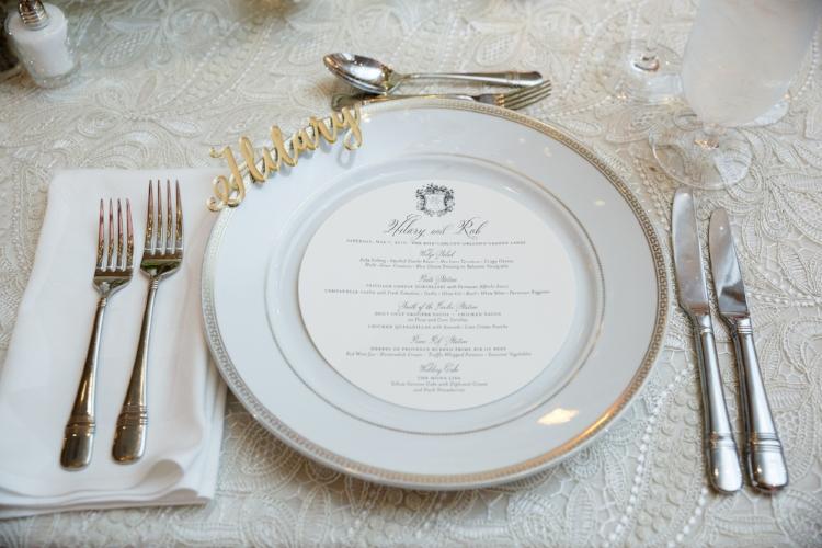 lisa stoner events- central florida wedding planner- ritz carlton wedding- wedding reeption- white charger plate with gold rim - lace linen- custom menu cards.jpg