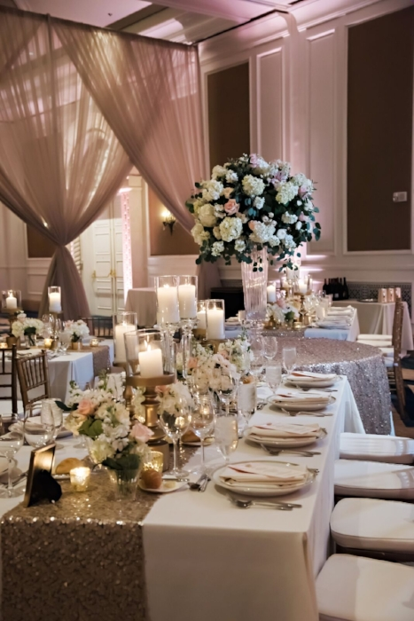 lia stoner weddings- long guest table - wedding with pink and white decor - rose gold table runners- low wedding centerpieces - pink and white wedding.jpg