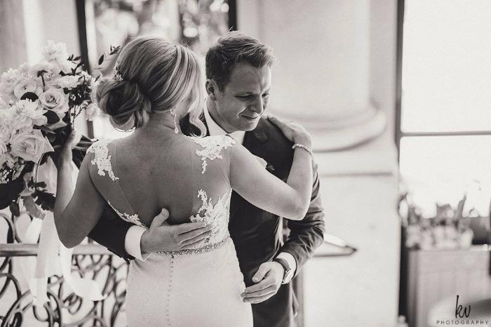lisa stoner events- best wedding planner in orlando - first look - crying groom- black and white wedding photos - bride- groom- four seasons orlando.jpg