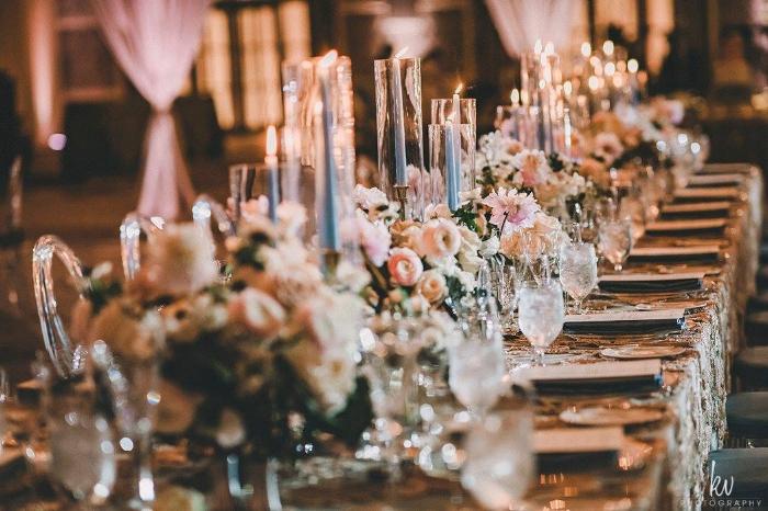 lisa stoner events- four seasons orlando reception - ballroom reception- head table - long wedding tables - pink and white centerpieces.jpg