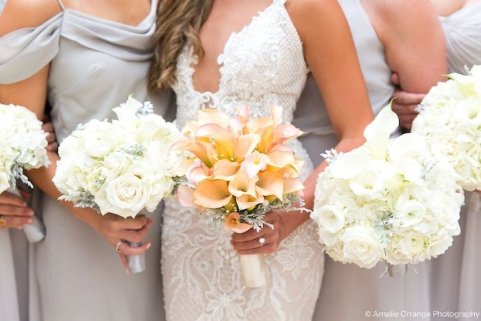 Galia Lahav- lae wedding gown - couture lace wedding gown - rose gold bridal bouquet - white bridesmaids bouquets - lisa stoner events.jpg