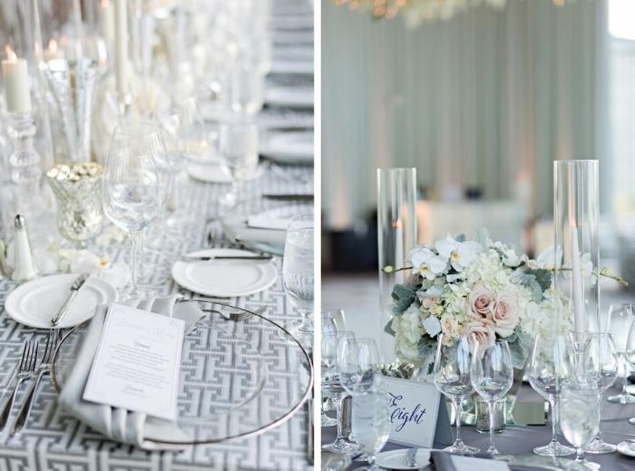grey and pink wedding- glass charge with silver rim - blush and grey centerpieces- dr phillips center wedding reception - modern wedding design - orlando wedding planner.jpg