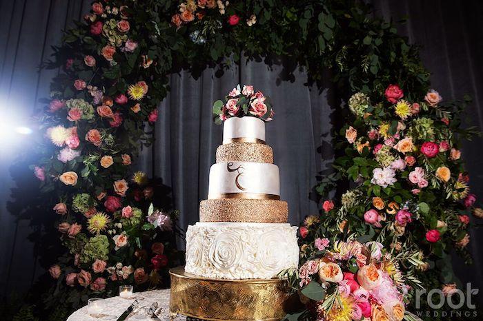 Lisa Stoner Events- Orlando Luxury Wedding Planner- Ritz Carlton Orlando – Ritz Carlton Wedding - gold and white wedding cake - ritz carlton wedding cake.jpg