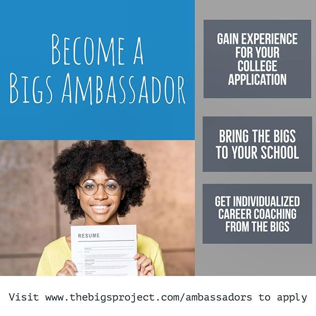Interested in bringing a great #careerexploration program to your school? Want to gain great experience for your college application? Looking for some 1:1 career coaching? Apply to become an ambassador! bigsproject.com/ambassadors