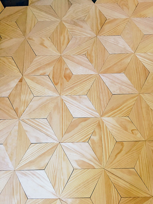 Geometric Wood Flooring for Hairstream, a mobile hair salon in New Orleans, LA