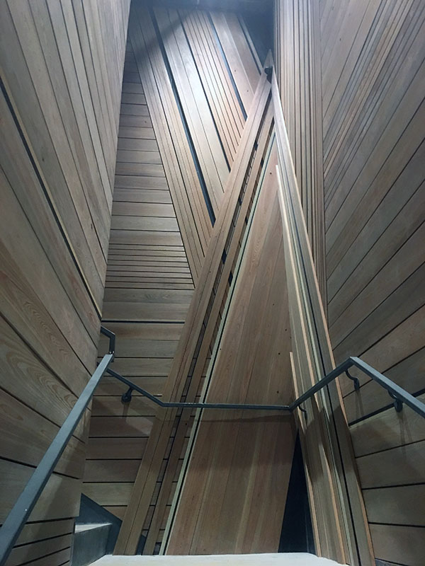 Cypress Cladding in the Rock Rose Event Hall Stairwell in the Domain in Austin, TX.