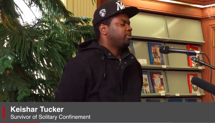 """Keishar Tucker, survivor of solitary confinement, talks about his experience at the opening of """"Inside the Box"""". Credit:Hartford Courant http://www.courant.com/videos/92462967-132.html"""