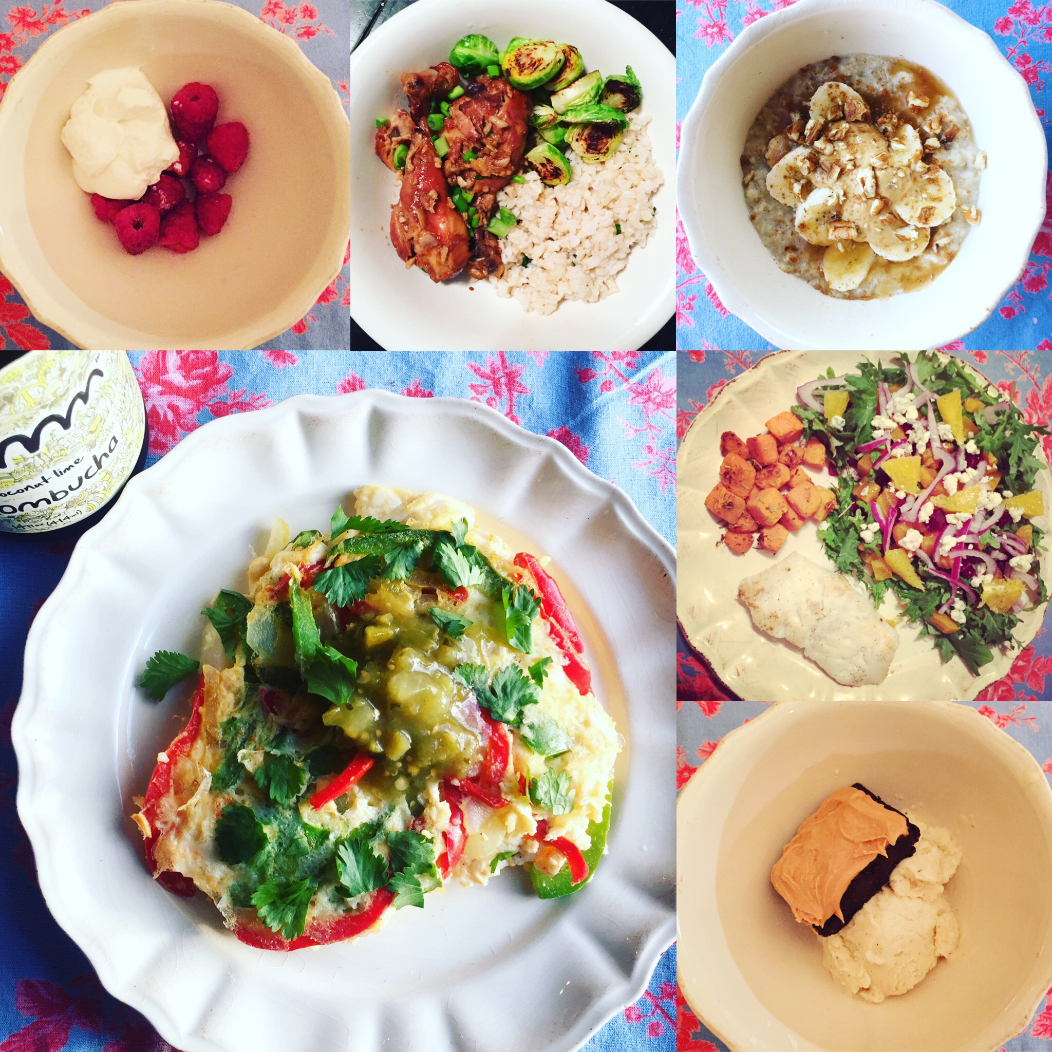 From largest photo clockwise: Breakfast, Mid-morning snack, Lunch, Pre-Workout snack, Dinner, Dessert.