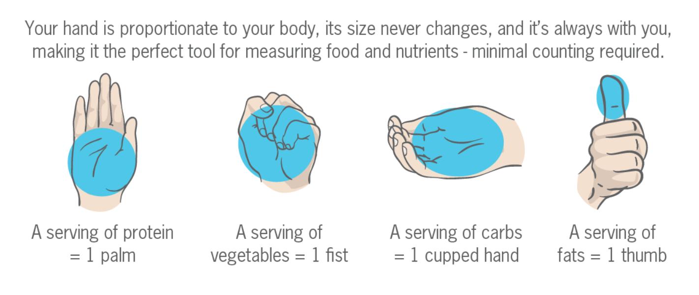 Hand portion guide courtesy of Precision Nutrition