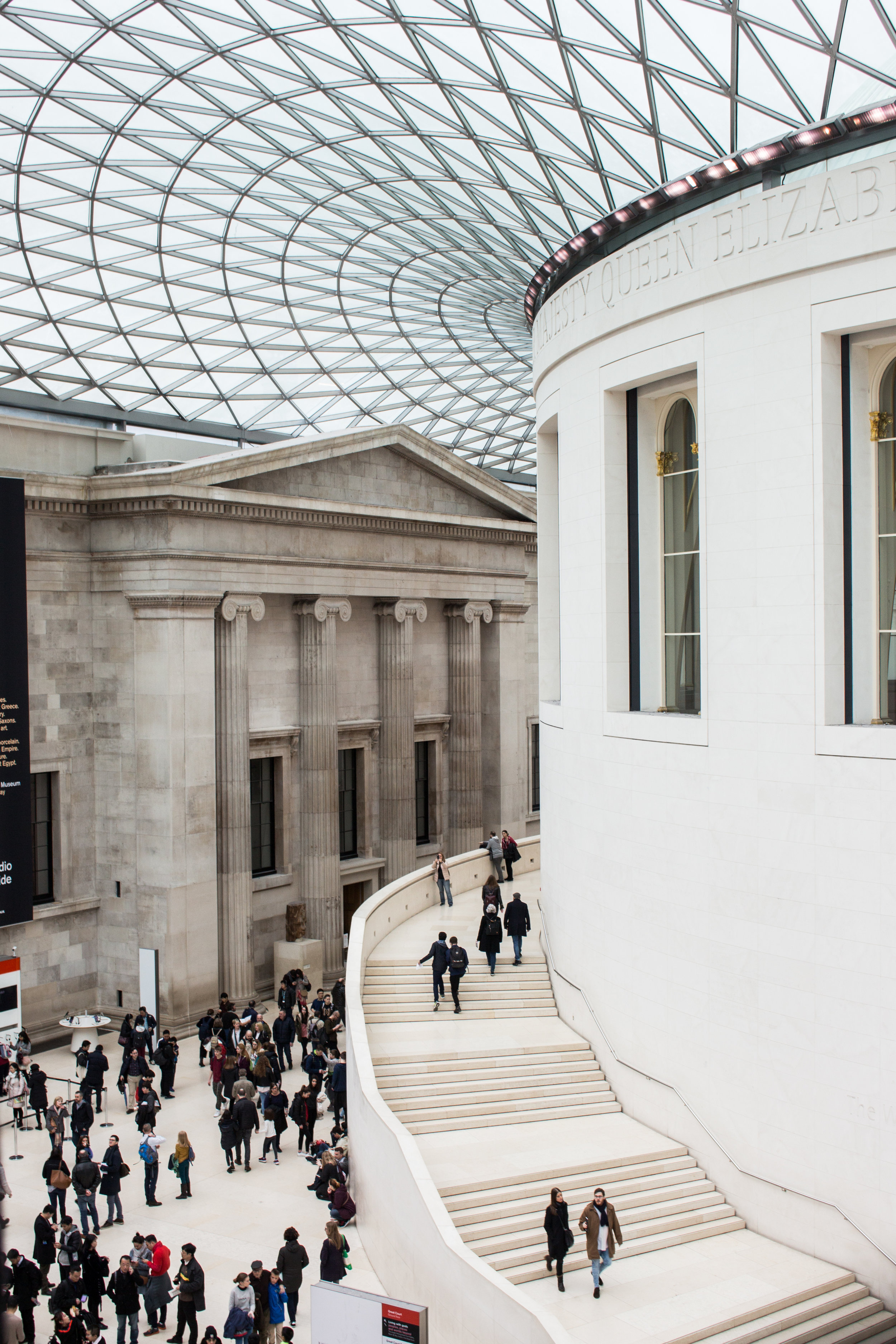 We will do a highlights tour of the main galleries, which are arranged around the Great Court, one of the most breath-taking and uplifting spaces of modern architecture in London.