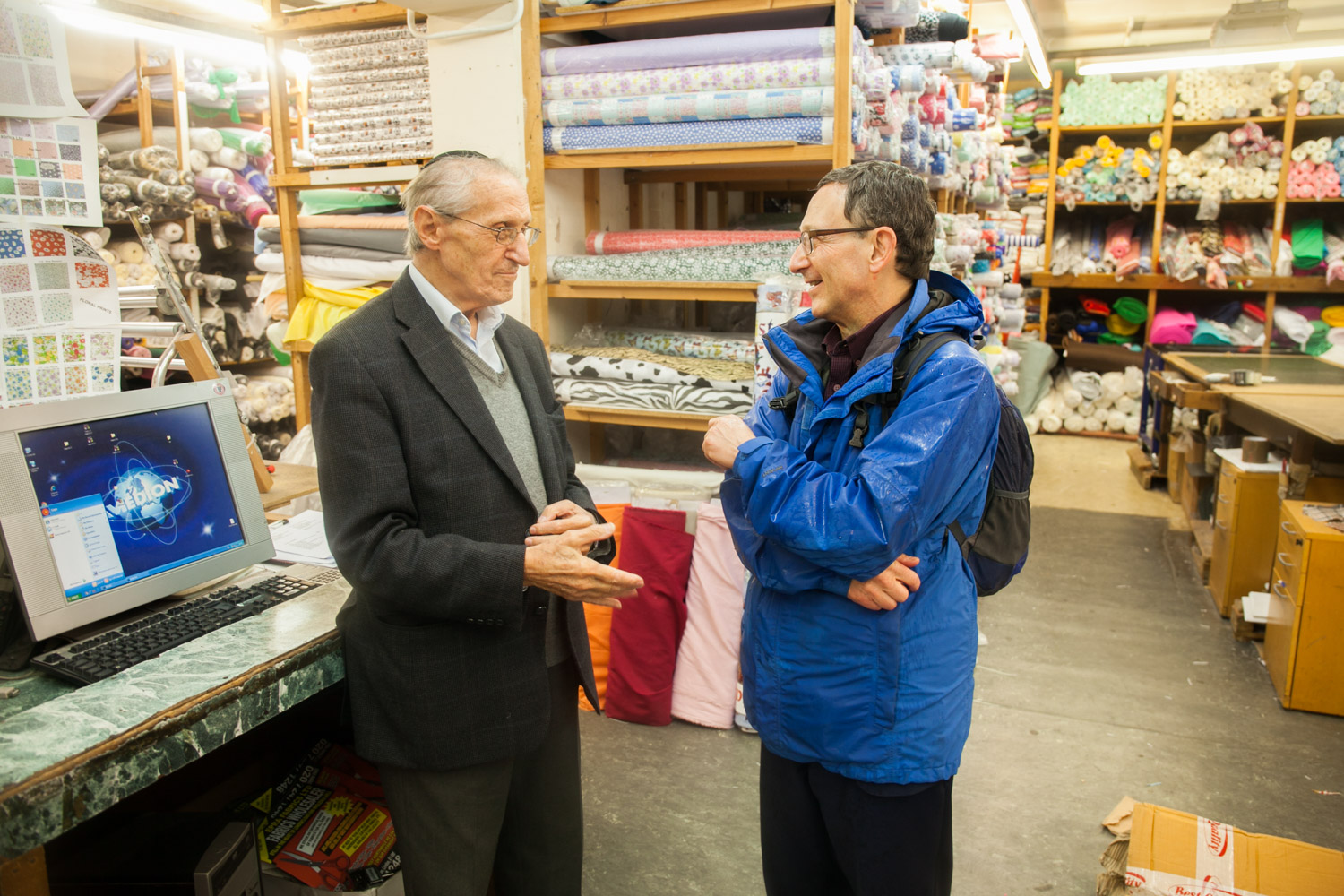 While on a private guided tour with Mark King, you could easily get dragged into conversations with the locals. Here in talks with Leo Epstein of Epra Fabrics in Brick Lane – telling stories about the traders of the old days. Leo, now in his eighties, has been in business since 1956 and never missed a day's work in sixty-three years.