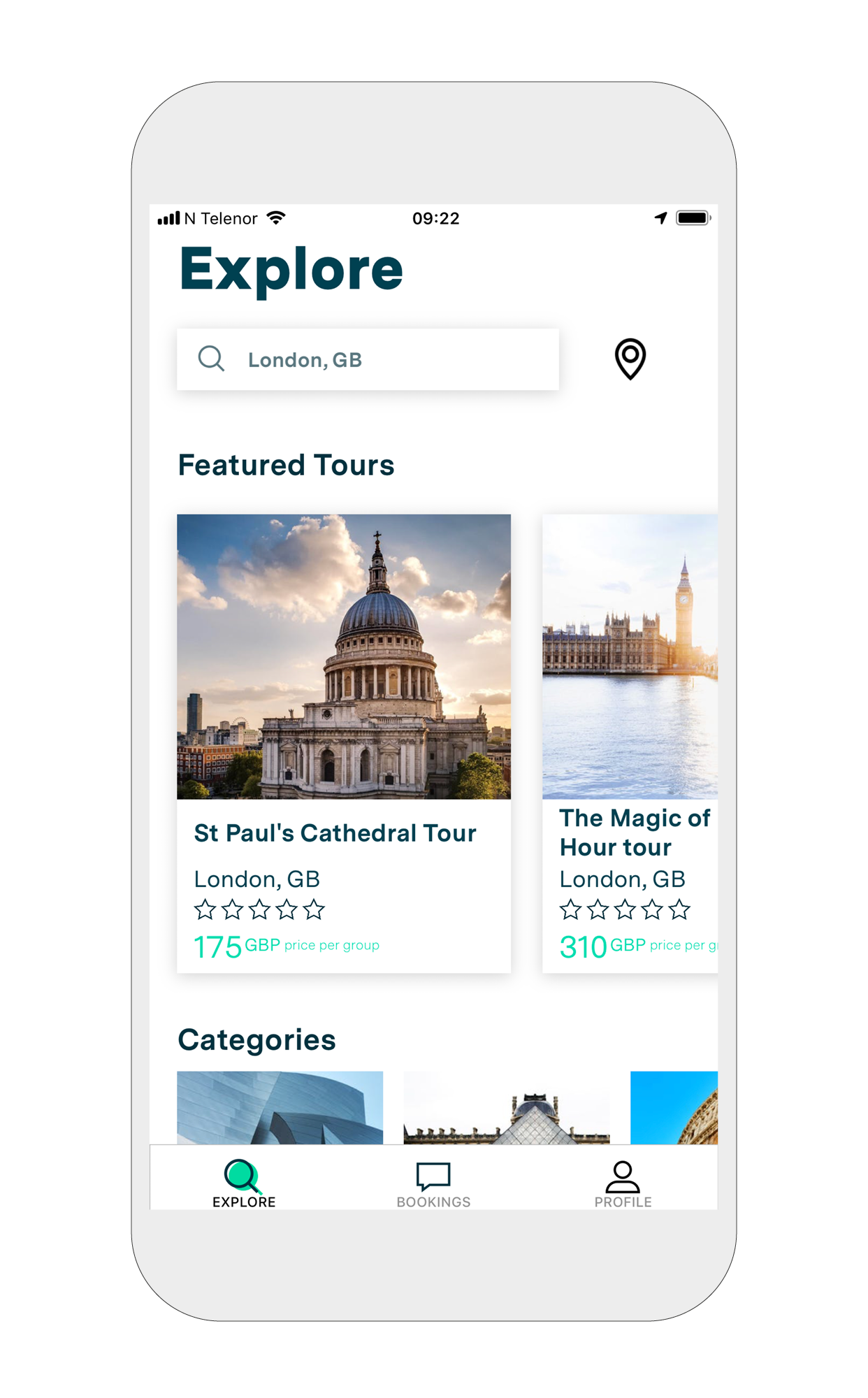 2. Explore - You are now ready to browse tours.Hit the 'Search' button to change your country or search for a specific city.