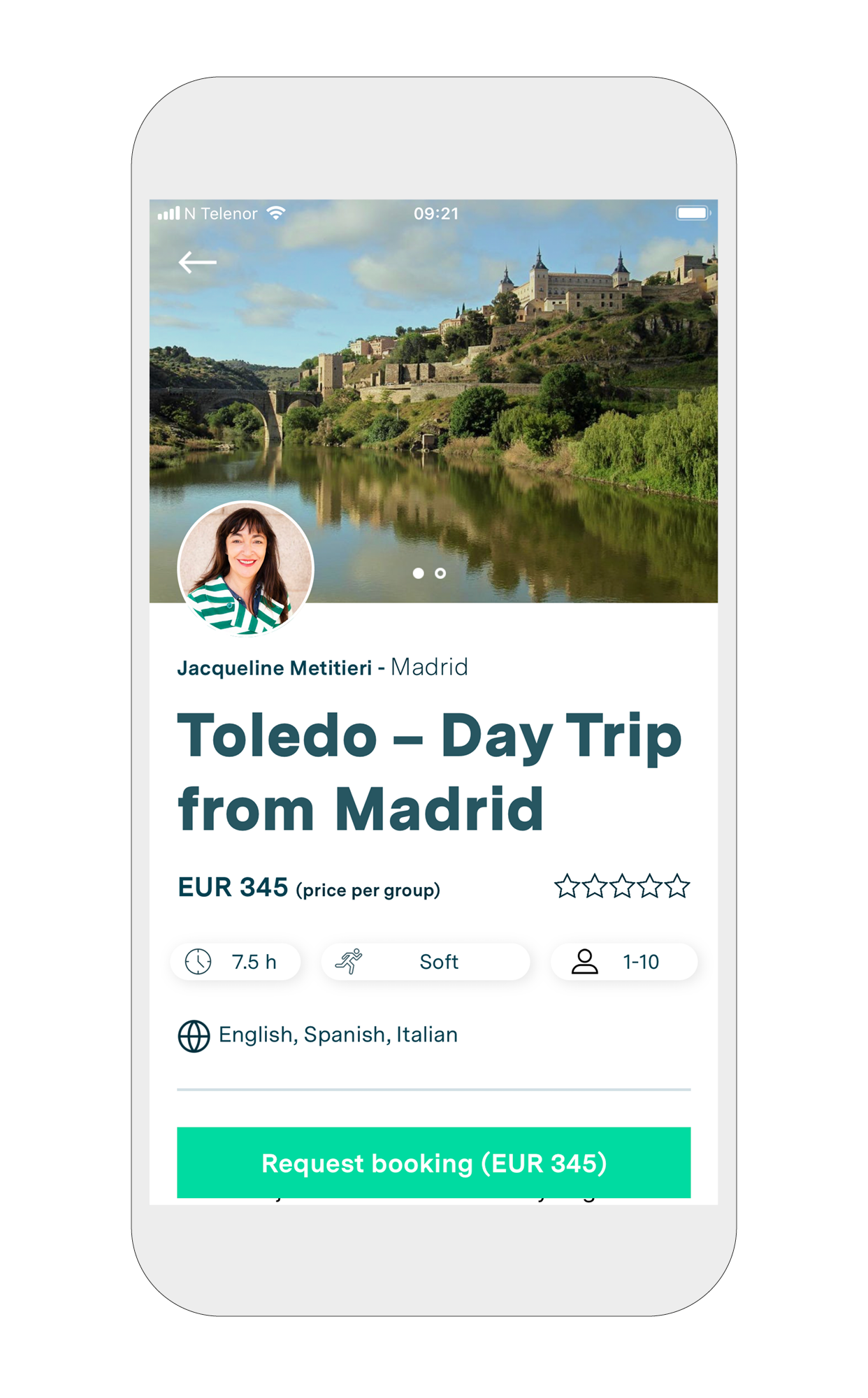 """3. Choose your experience - Read about your desired experience and the guide. If you wish to proceed and book the tour, hit the """"Request booking"""" button."""
