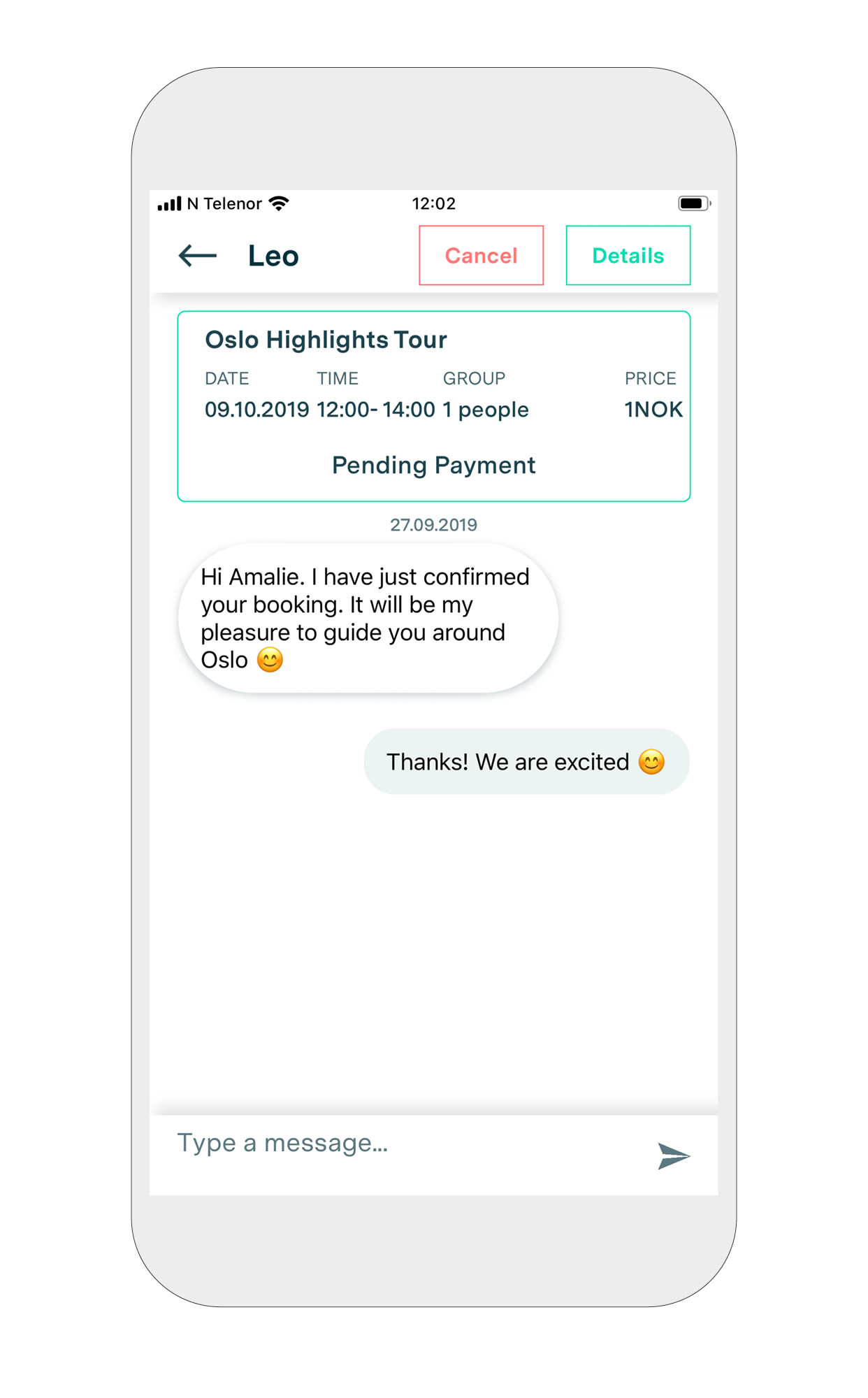 8. Chat - You can also chat directly with your guide, make suggestions or cancel the experience.