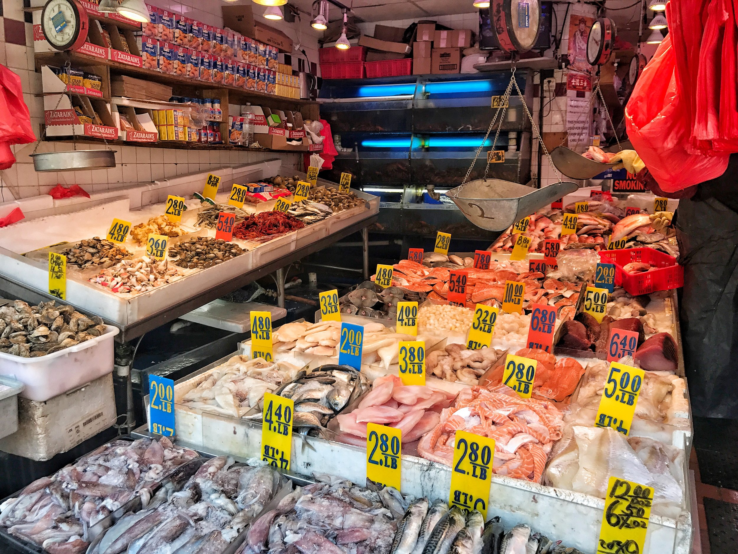 A seafood market in Chinatown