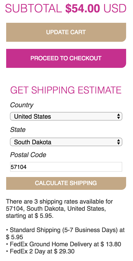 When clicked on the calculate shipping button on the cart page, the user will see that their shipping information pops up with estimates.