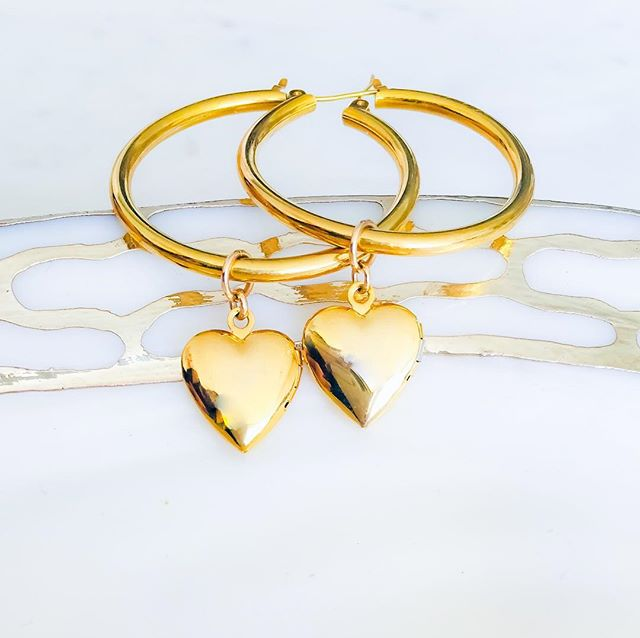 Locket heart hoops. 18k vermeil and gold filled