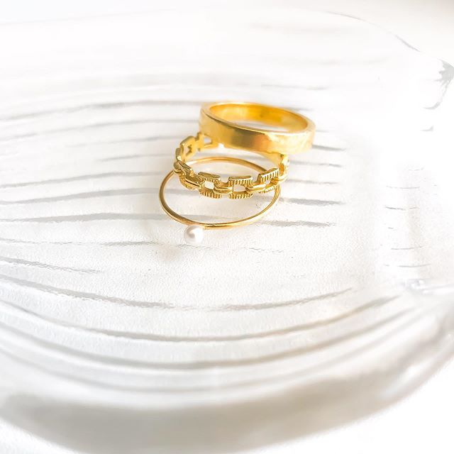 The perfect stack. Gold-filled pearl ring, 17k vermeil Prado ring and the 18k vermeil Leo ring.