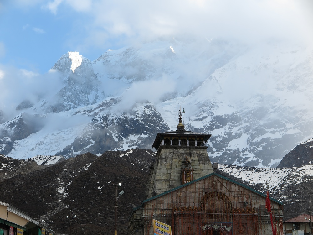 The temple in the village which was destroyed in a floor in the high reaches of the Himalayas. Kedarnath, Uttarakhand, India.