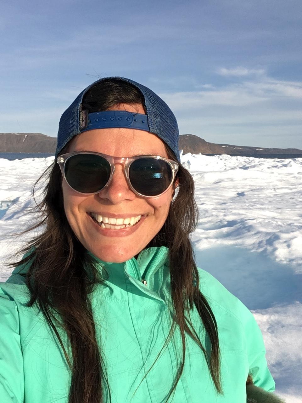 Madelynn Slade on an iceberg in the Arctic Ocean