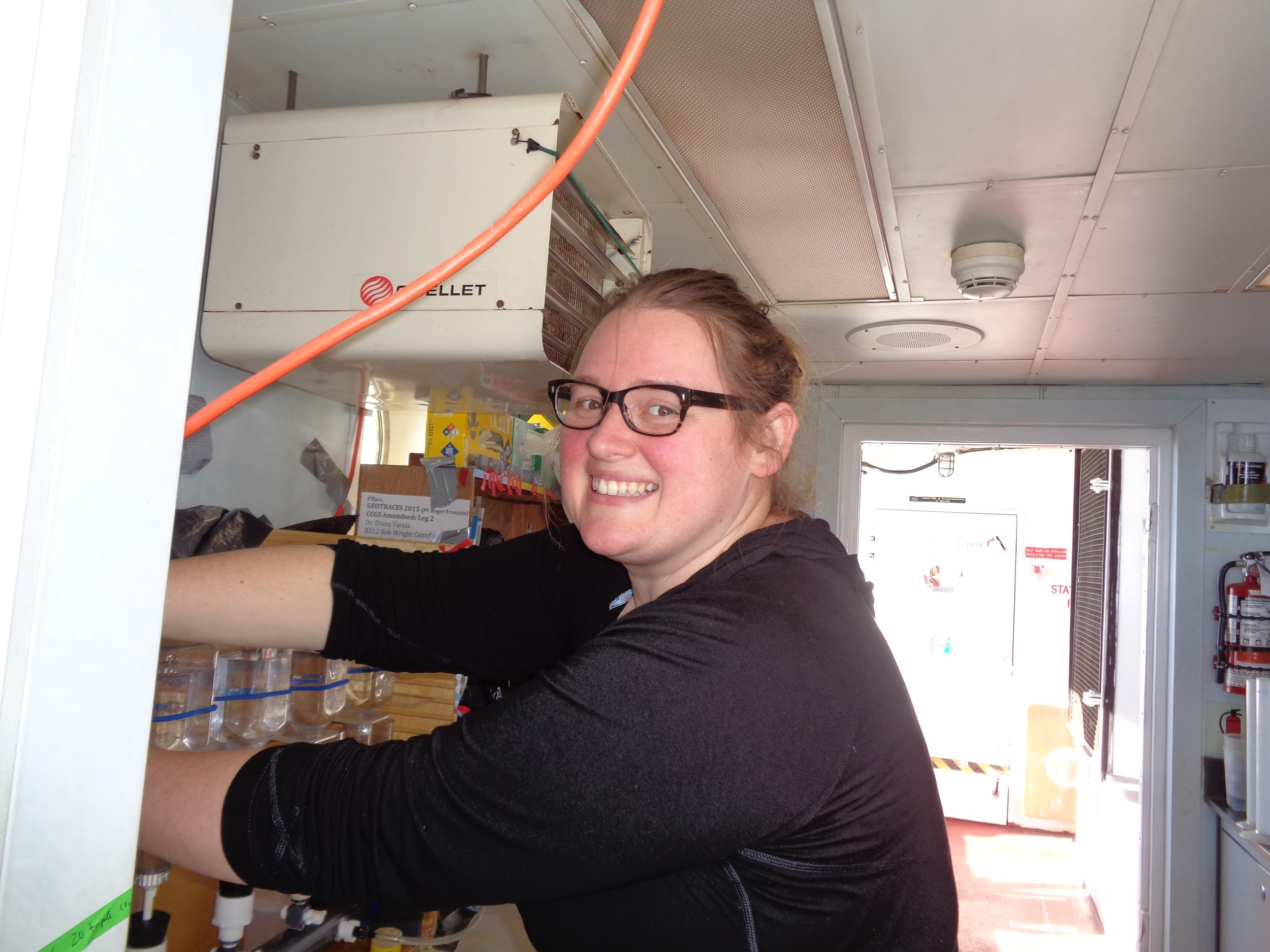Karina filtering water samples during the 2015 Canadian Arctic GEOTRACES program on the coast guard vessel, the CCGS Amundsen