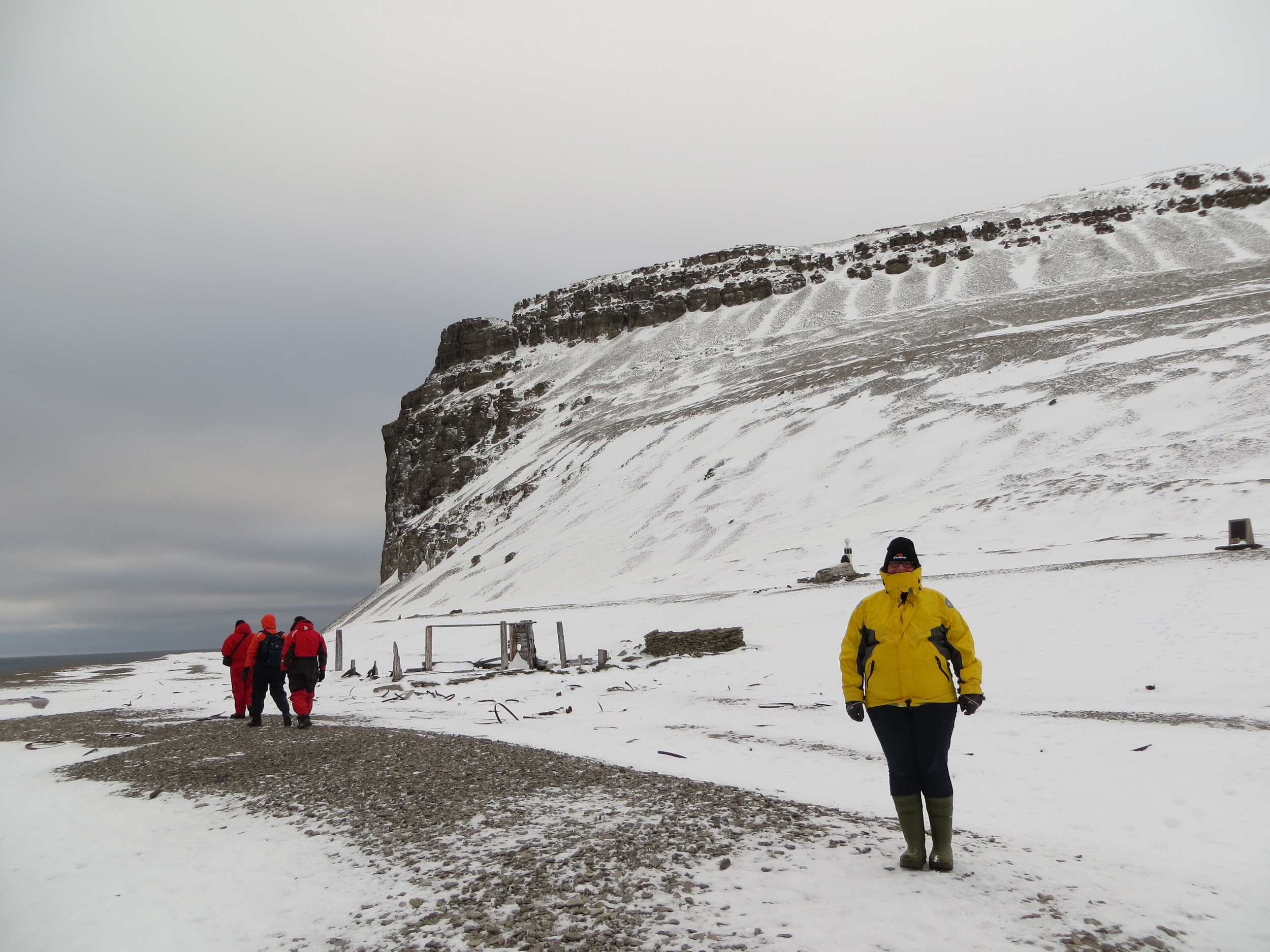 Karina at the remains of the failed Franklin Expedition on Beechey Island in the Arctic.