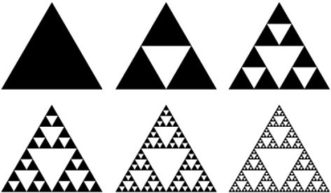 Sierpinski's triangle: This object with infinite perimeter yet zero area was a key concept leading Dina to her current work focus.
