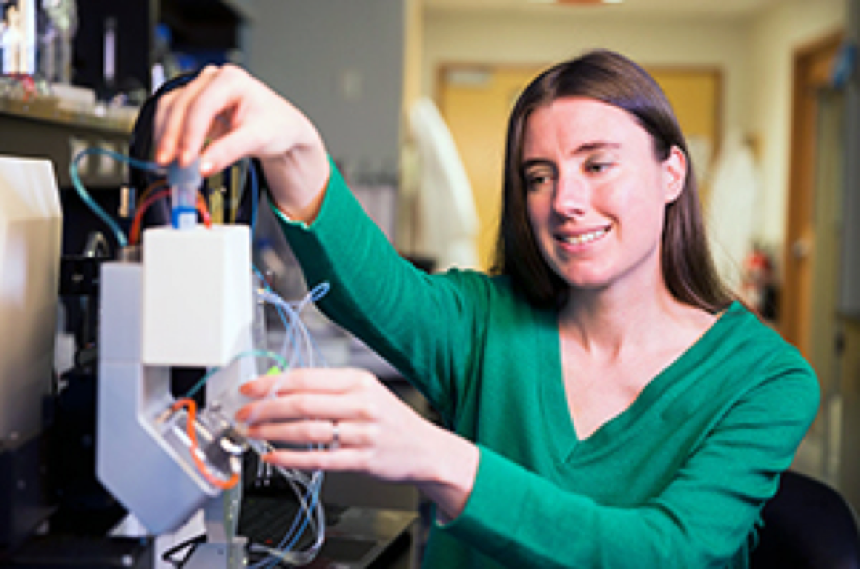 Dr. Willerth in her lab with the RX1 bioprinter
