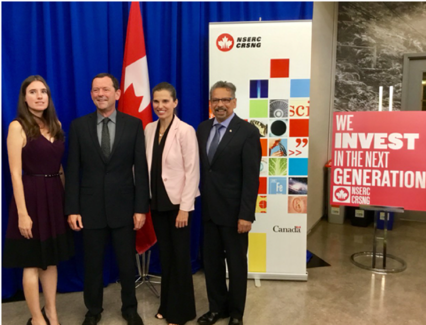 Dr. Willerth with Jamie Cassels (UVic President), Kirsty Duncan (Minister of Science), and Mario Pinto (NSERC President)
