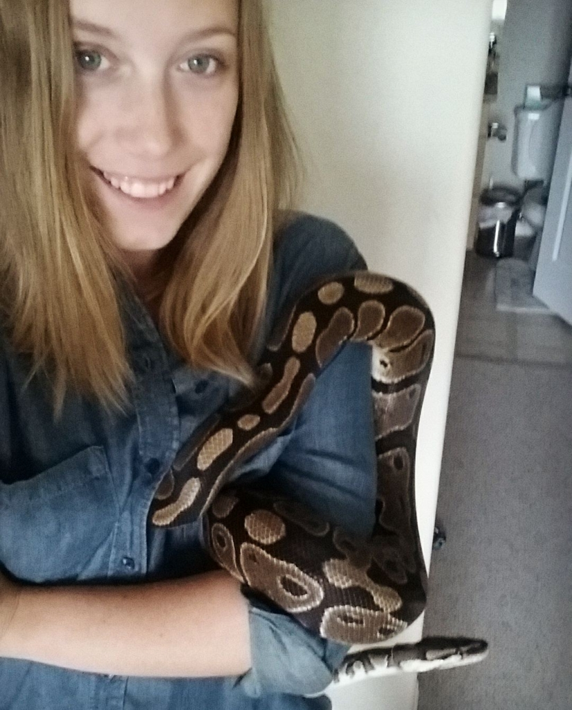 Dr. Friesen and her ball python, Leila.
