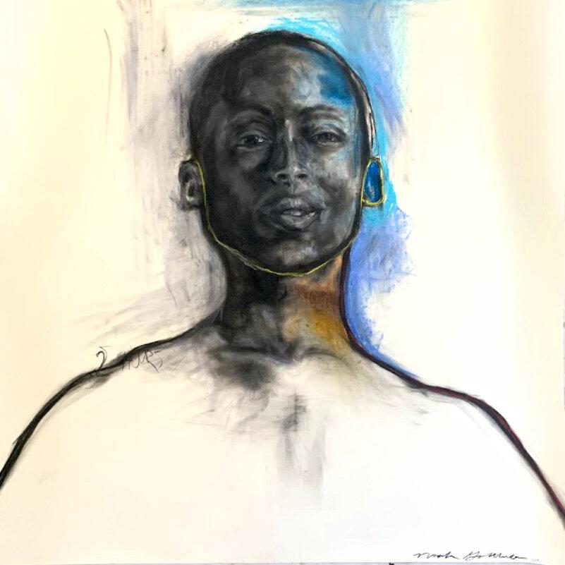 """Portrait Study - 42""""x 42"""" Charcoal, Soft Pastel, Pencil on Paper"""